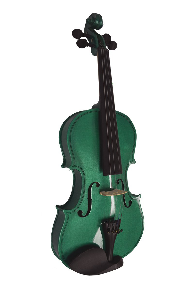 Full Size Adult (4/4) Green Student Junior Beginners Violin with Case Bow and Rosin & 2 Months Free Live Violin Lessons (VIO-1-LES) & Directly Cheap Guitar Pick