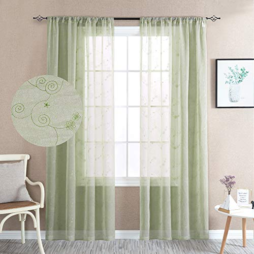 Sheer Curtains Floral Embroidered Semi Sheer Curtains Living Room 84 inches Long Embroidery Window Curtain Panels Bedroom Rod Pocket Curtain Sheers 2 Panels Sage