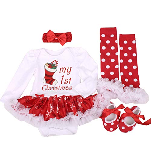 Fairy Baby Baby Girl 4Pcs Christmas Costume Bodysuit Tutu Dress Outfit Clothes Set Size 6-12M (Socks) -