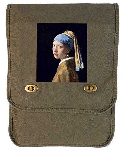 Tenacitee Girl with a Pearl Earring Khaki Green Canvas Field Bag from Tenacitee