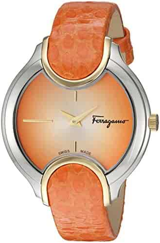 Salvatore Ferragamo Women's 'Signature' Quartz Stainless Steel and Leather Casual Watch, Color:Orange (Model: FIZ030015)