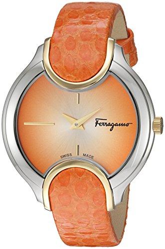 Salvatore-Ferragamo-Womens-Signature-Quartz-Stainless-Steel-and-Leather-Casual-Watch-ColorOrange-Model-FIZ030015