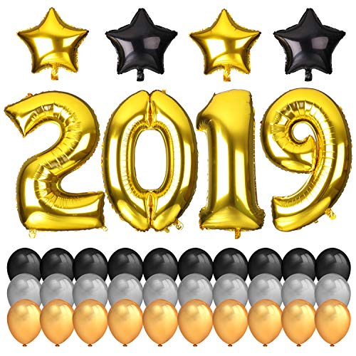 Konsait 2019 Balloons New Years Decoration, 40Inch Number 2019 Gold Foil Balloons Large, 18Inch Mylar Foil Star Balloon, Black Silver Latex Balloons for 2019 Events New Years Eve Party Supplies -