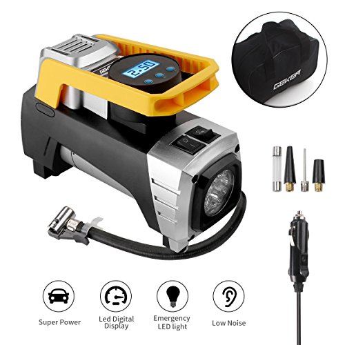 GEKER Portable Air Compressor 12V 150PSI with Emergency Light and Air Compressor LCD Screen for Inflating Suitable for Cars, Motorcycles, Inflatable Balls, Bicycles and Sports Equipment