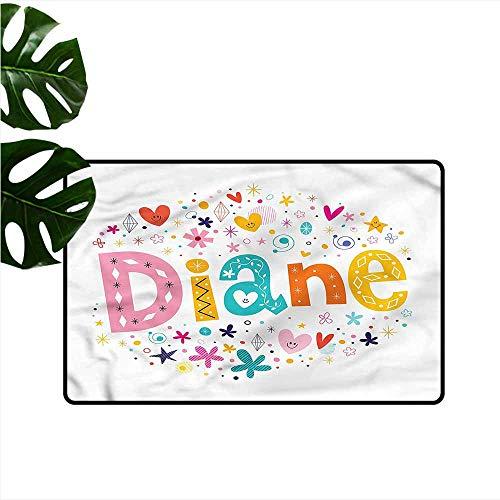 Waterproof Door mat Diane Festive Baby Girl Name Machine wash/Non-Slip W30 xL39