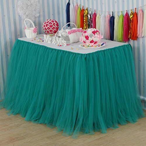 - vLovelife 100cm Teal Blue Tulle Tutu Table Skirt Tableware TableCloth Party Baby Shower Birthday Wedding Decorations Favor Customized Size Available
