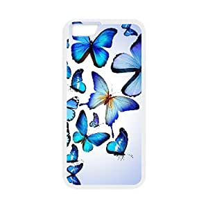 Evekiss Butterfly IPhone 6 Plus Case Butterfly Colorful Blue Drawing Art Beautiful Ilike Cheap for Girls, Phone Case for Iphone 6 Plus, {White}