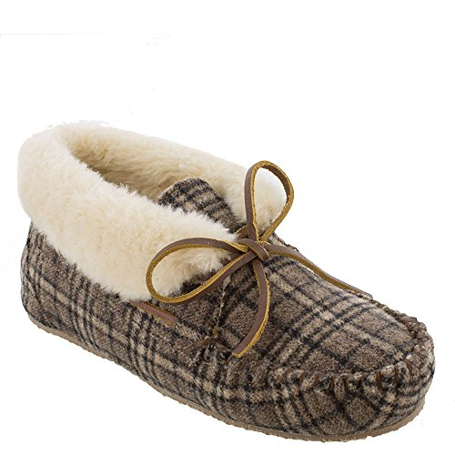 Minnetonka Women's Chrissy Bootie Moccasin Slipper (Brown Plaid Suede)-6 M US ()