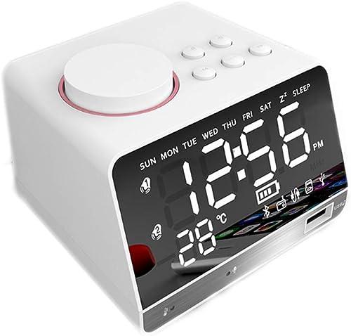 BBZXLL Bluetooth Speaker Alarm Clock – LED Bead Bevel Display Mirror Design 4.2 Wireless Bluetooth Radio Function Clock 2 Group Alarm White