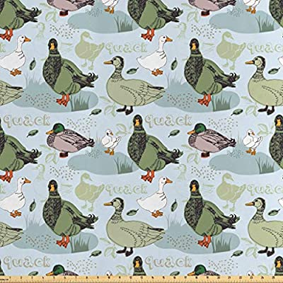 Lunarable Geese Fabric by The Yard, Ducks Fowl on The Farm with Greenery Leaves Etching Illustration Design Print, Decorative Fabric for Home Textiles Accents and Crafts, Blue Olive Green