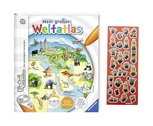 Ravensburger tiptoi ® Buch - Mein großer Weltatlas + Gratis Minions Sticker
