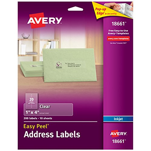 Avery Matte Frosted Clear Address Labels for Inkjet Printers, 1 x 4, 200 Labels (18661)