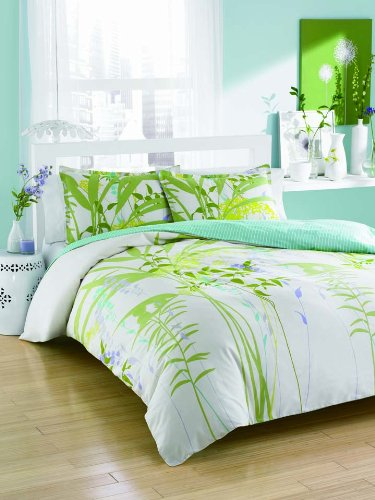 City Scene Mixed Floral Cotton Duvet Cover Set, Full/Queen