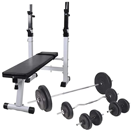 Festnight Banco de Ejercicios Banco de Musculación Multifunción Ajustable Plegable Inclinable para Entrenamiento Completo con Soporte