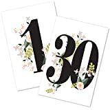 FLUYTCO Table Numbers for Wedding Reception and decoration – 1 to 30 Double Sided Floral Cards - 4x6 for Banquet, Birthday, Catering, Party and Other Events – Centerpiece Decor