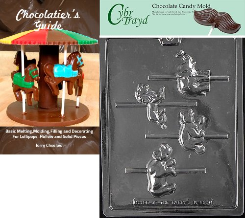 Cybrtrayd ''Carousel Wild Animals'' Miscellaneous Chocolate Candy Mold with Chocolatier's Guide Instructions Book Manual