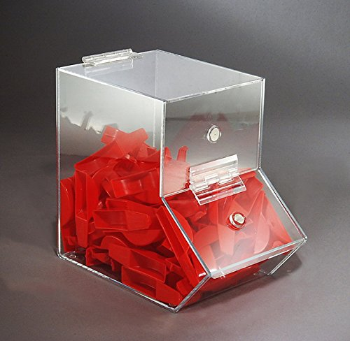 Medium Dispensing Bin, Clear Acrylic, with Door Magnet