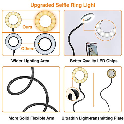 Selfie Ring Light, UPGRADED Selfie Light with Cell Phone Holder Stand for Live Stream Makeup Including Remote Shutter, LED Camera Light 3 Light Mode 10 Level Brightness Flexible Arm for iPhone/Android by Erligpowht (Image #1)