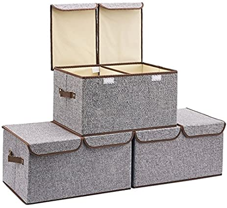 [3 Pack, Double Grid Large] Durable Storage Bins, Containers, Boxes