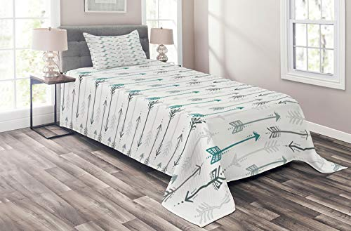 Ambesonne Teal Coverlet Set Twin Size, Retro Arrow Pattern in Horizontal Line Heading to Opposite Directions Art Print, 2 Piece Decorative Quilted Bedspread with 1 Pillow Sham, Grey Teal