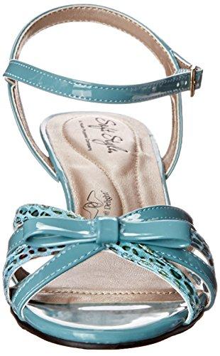Suave Estilo Por Hush Puppies Mae vestido de la sandalia Soft Blue Patent Polyurethane/Marble Snake Fabric