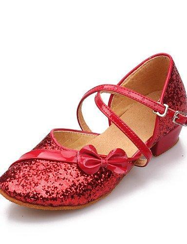 Shoe ShangYi ShangYi Women's/Kids' Dance Shoes Latin Leatherette/Paillette Flat Heel Black/Blue/Red/Silver/Gold red 3k0XAs