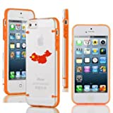 Apple iPhone 6 6s Thin Hybrid Transparent Clear Hard TPU Bumper Case Cover China Chinese Flag (Orange)