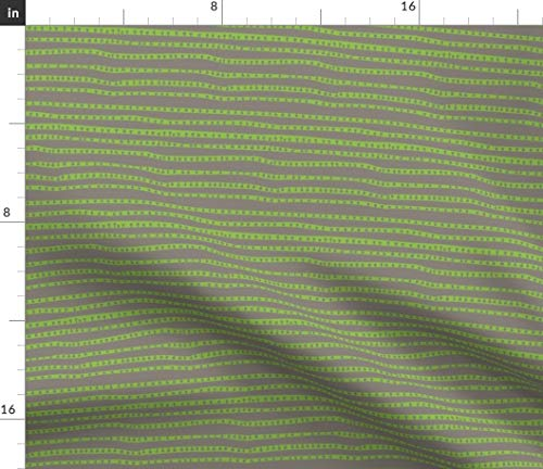 (Green + Gray Stripe Fabric - Pod Stripes In Cafe + Celery + Gender Neutral Nursery Baby Decor Abstract Print on Fabric by the Yard - Basketweave Cotton Canvas for Upholstery Home Decor Bottomweight)