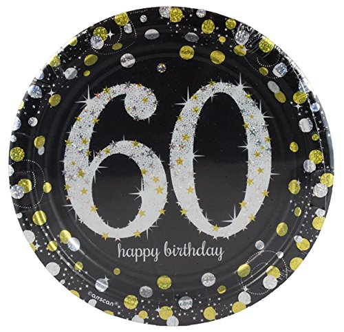 2 Set of 8 Sparkling Celebration 60th 7 inch Paper Dessert Plates bundled by Maven (60th Birthday Paper Plates)