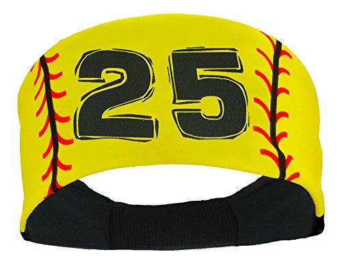 (MadSportsStuff Player ID Softball Stitch Headband (Yellow, 25))