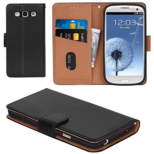 Aicoco Galaxy S3 Case, Flip Cover Leather, Phone Wallet Case for Samsung Galaxy S3 / S3 Neo - Black (Galaxy S3 Cases Wallet)