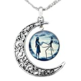 Arts & Crafts : Jack Skellington Necklace Pendant Gift, Jack and Sally Nightmare Before Christmas (Blue)