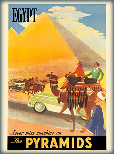 A SLICE IN TIME Egypt Egypte Cairo Never Miss Sunshine on the Pyramids Vintage Travel Advertisement Art Wall Decor Poster Print. 10 x 13.5 inches