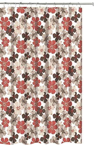 Rustic Floral Fabric Shower Curtain: Primitive Burgundy Brown Beige Design, 70 by 72 Inches with Roller Ball Hooks (Brown And Red Curtain Shower)