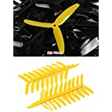 UUMART KingKong 5045 3-Blade Propellers (10 Pairs, 10CW, 10CCW) 5x4.5x3 Yellow Recommended Motor 2204(3-4S),2205(3-4S),2206(3-4S),2207(3-4S),2209(3-4S)