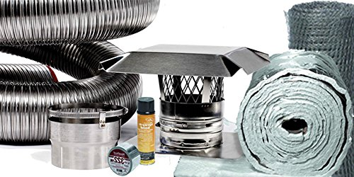 FireFlex Basic Chimney Liner Insert Kit with Insulation 6 Inch x 25 Foot ()