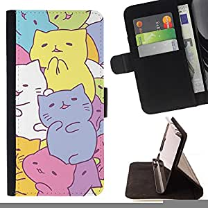 - Queen Pattern FOR HTC One M8 /La identificaci????n del cr????dito ranuras para tarjetas tir????n de la caja Cartera de cuero cubie - cute kittens drawing pastel colorful -