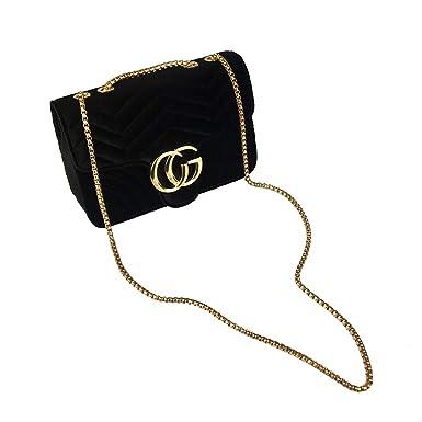 cdbc03e1cd630 2019 Mini Baby Nappy Bag Linger Chain CG Lock Velvet Wave Retro Ladies  Shoulder Bag Women Crossbody Bag Girls Clutch Purse Black Evening Handbag  24 8 16cm  ...