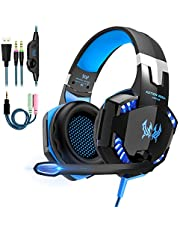 Gaming Headset für PS4 PC Xbox One, Gaming Kopfhörer mit Mikrofon Deep Bass Stereo Sound Noise Isolation Over-Ear Headset für PC Laptop Mac Smartphone,LED Licht