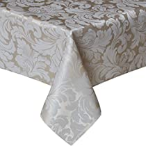 Eforcurtain Luxury Jacquard Weave Rectangle Tablecloth Spillproof for Holiday Parties Home Decoration, Cream Ivory, 60 By 84 Inch
