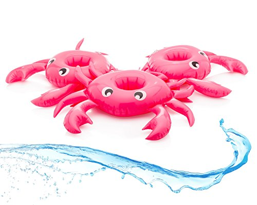 Inflatable Pool Drink Float Holders Floating Set of 3 - Premium Crab Cup Floaties Perfect for Pool, Birthday and Summer Fun Party For Adults, Kids, Beach Accessories, Ring Float, Hot Tub Pool Items