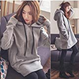 Iumer Womens Hooded Pullover Tops Sweatshirt Long Sleeve Sweater Hoodie Jumper Hooded Pullover Tops Blouse