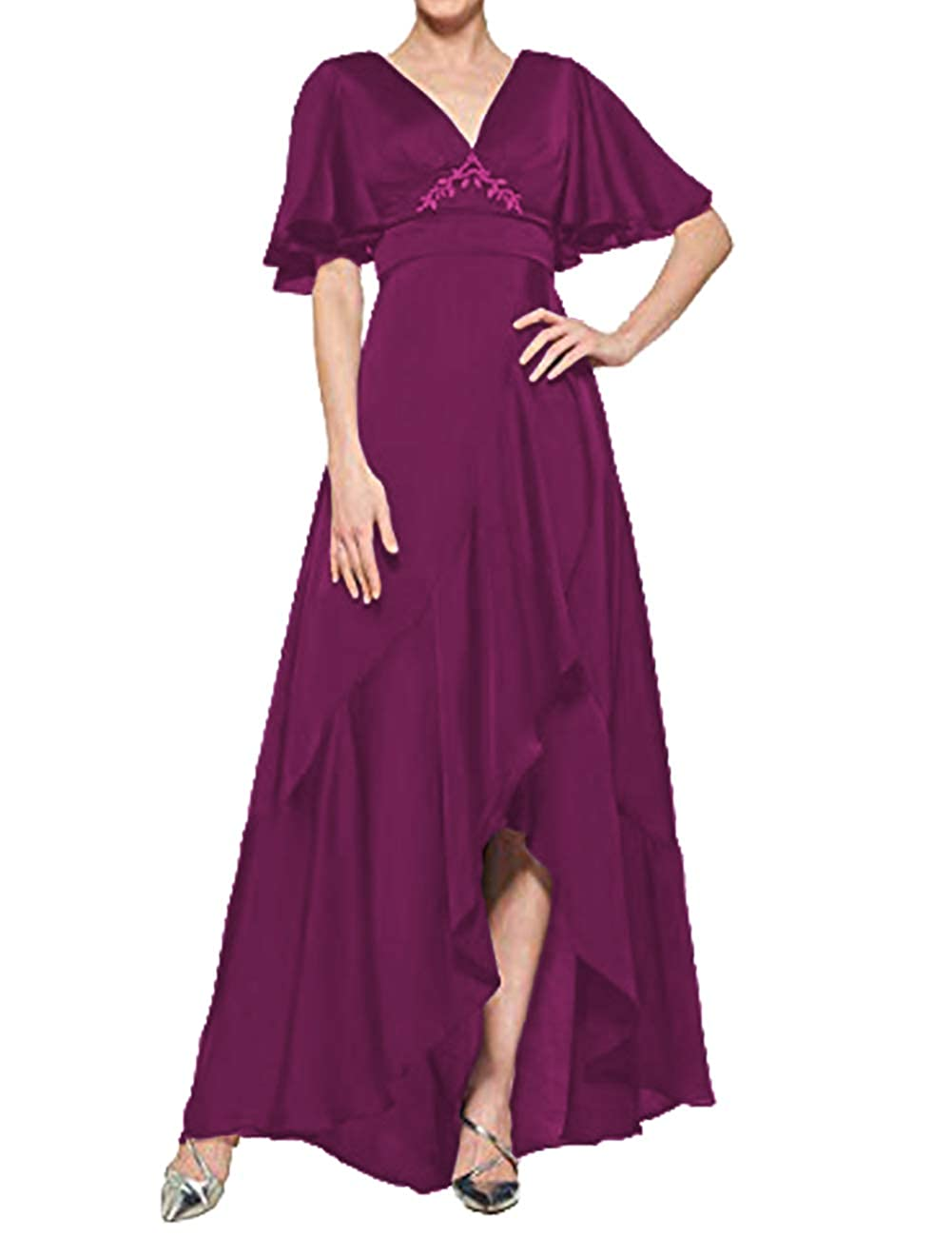 Grape H.S.D Mother of The Bride Dresses V Neck Evening Dress Asymmetrical Formal Gown Empire