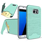 Galaxy S7 Edge Case, SUMOON [Card Slot Holder] Dual Layer Advanced Shock Absorption Protective with Card Holder and Kickstand Wallet Case Heavy Duty Bumper for Samsung Galaxy S7 Edge (Mint)