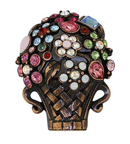 Inspired Treasures Giardinetti Flower Basket Brooch Bronze Finish - Swarovski Crystal - Licensed by V&A Victoria and Albert Museum, London