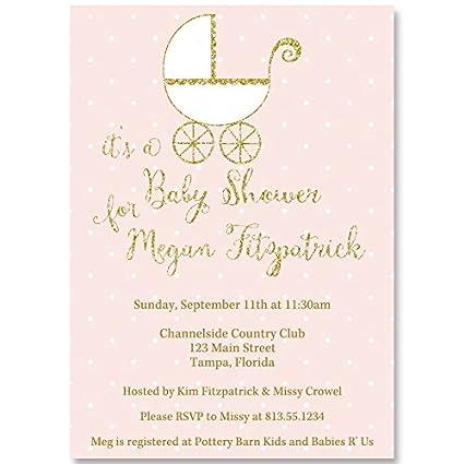 Amazon baby shower invitations polka dot baby carriage pink baby shower invitations polka dot baby carriage pink gold glitter polka filmwisefo