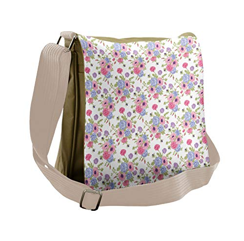 Ambesonne Shabby Chic Messenger Bag, Floral Bouquet, Unisex Cross-body