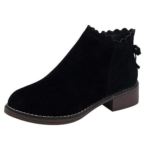 FAMILIZO Botas Mujer Zapatos De Punta Redonda De Mujer Botines Planos con Cremallera Zapatos De Color Sólido De Gamuza Martin Botas Otoño Botas Mujer ...