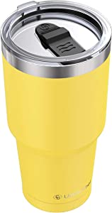 Stainless Steel Tumbler with Lid, 30oz Insulated Travel Tumbler Mug by Umite Chef, Insulated Coffee Mug, Double Wall Water Coffee Cup for Home, Office, School, Ice Drink, Hot Beverage (Yellow)