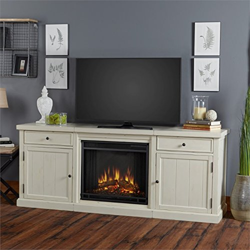 Real Flame 2720E-DSW 2720E Cassidy Entertainment Unit with Electric Fireplace, Distressed White, (Fireplace Unit)